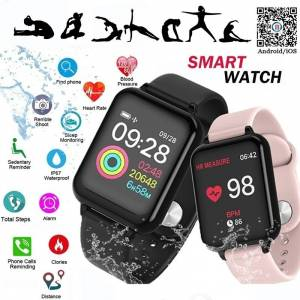 bestbuy Heart Rate Blood Pressure Smartwatch for iphone and Android - black