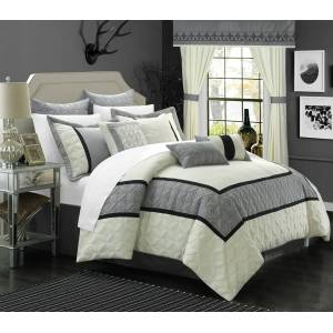 Lux-Bed LLC Chic Home 24/25 Piece Ariane Duvet Covered Embroidered Room in a Bag Comforter Set, Sheet Set, Window Curtain Set
