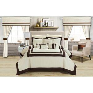 Chic Home 20 Piece Bertran Pieced Color Blocked Complete Master Bedroom Ensemble Includes Comforter Set