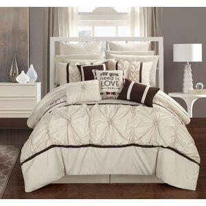 Chic Home 16 Piece Ash Floral Pinch Pleat Ruffled Designer Embellished Comforter Set  With sheet set