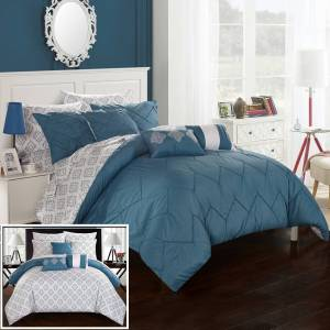 Chic Home 10 Piece Dahlia Rope like Pinch Pleated REVERSIBLE Oversized and Overfilled Bed In a Bag Comforter Set With sheet set