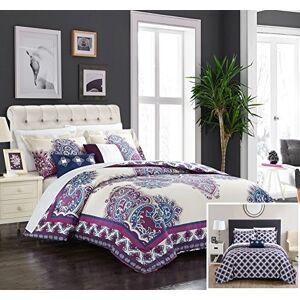 Chic Home 5 Piece Samadhi 100% Cotton 200 Thread Count XL Panel Framed Boho Printed REVERSIBLE Comforter Set w/ Shams & Decorative Pillows - King