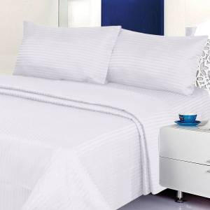Comfort Linen Deluxe 6PC Classic Cotton-Blend Sateen Dobby Stripe Bed Sheet Set - Twin, White