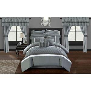 Chic Home Topaz 24 Piece Comforter Bed in a Bag Pleated Ruffled Designer Embellished Bedding Set