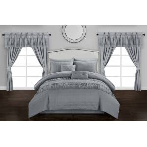 Chic Home Mykonos 20 Piece Comforter Set  Embossed Bedding - Sheets Window Treatments Decorative Pillows Shams Bed Skirt Included