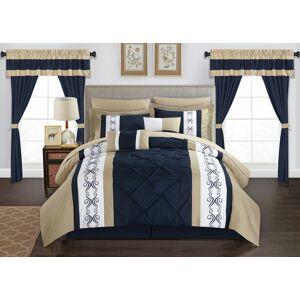 Chic Home Adara 20 Piece Comforter Set Color Block Pinch Pleat Pintuck Design