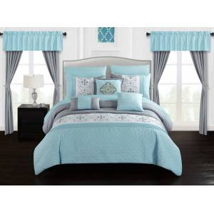 Chic Home Jurgen 20-Piece Floral Embroidered Bed in a Bag Bedding and Comforter Set