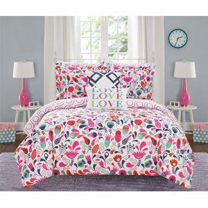 Chic Home Lisse 9 or 7 Piece Reversible Comforter Set Print Design - pink, full