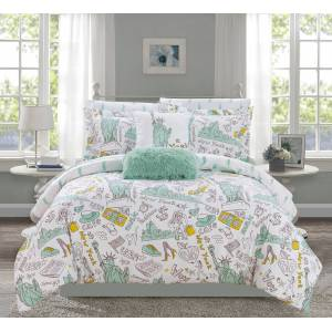 Chic Home Travel Theme 9 or 7 Piece Comforter Set - pink, queen