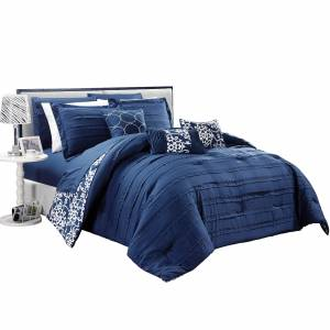 Chic Home 10-Piece Reversible Bed In A Bag Comforter & Sheet Set, Multiple Colors