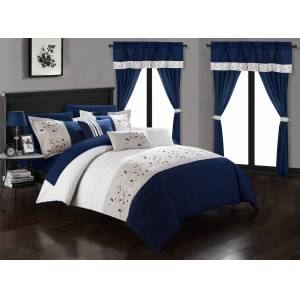 Chic Home Sonita 20-Piece Bedding Set With Comforter, Sheets & Curtains, Mult. Colors