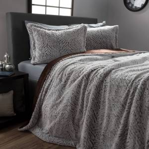 Lavish Home 3 Pc Mink Faux Fur Comforter Set Silky Softness Full Queen King Bedding with 2 Shams - Full/Queen