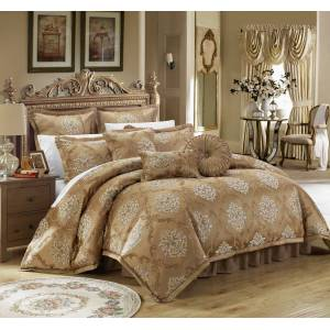 Chic Home 9 Piece Aubrey Decorator Upholstery Quality Jacquard Scroll Fabric Complete Master Bedroom Comforter Set and pillows Ensemble - gold, queen