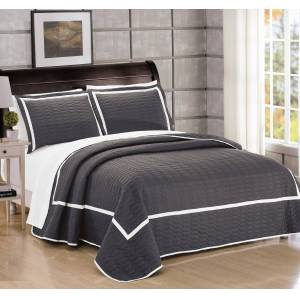 Lux-Bed LLC Chic Home 7 Piece Halrowe Hotel Collection 2 tone banded Quilted Geometrical Embroidered, Quilt in a bag, Includes sheets set  Quilt Set - Navy, King
