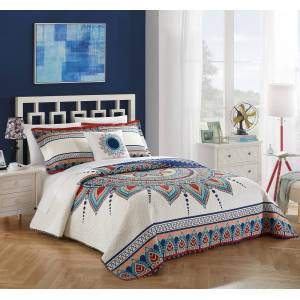 Chic Home 4 Piece Yucca 100% Cotton 200 Thread Count XL Panel Frame Boho Printed REVERSIBLE Quilt Set with Shams & Decorative Pillows - King