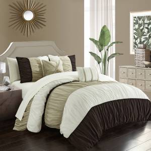Lux-Bed LLC Faye 9 or 7 Piece Comforter Ruched Color Block Bed In A Bag