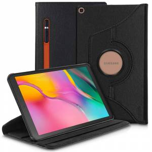 Modes Wireless For Samsung Galaxy Tab A 10.1 inch 2019 T510 / T515 360 Degree Rotating Stand W/ Pencil Slots Leather Folio Tablet Case Cover Black
