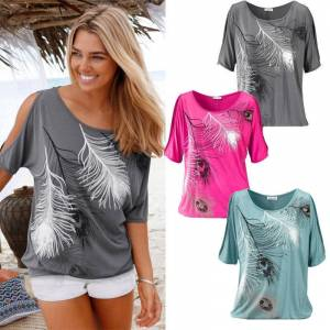 FASHION VISTA Wild And Free Peacock Feathered Tee in 3 Colors - Silver Rain, SMALL