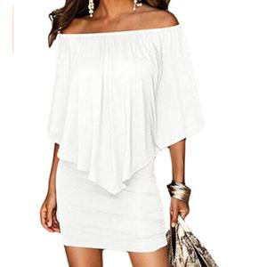 Slash Neck Women Mini Dress Autumn Style Off Shoulder Sexy Dresses - White, M