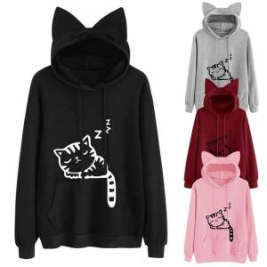 Warm house Loose Fleece Print Cat Sweater