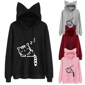 Warm house Loose Fleece Print Cat Sweater