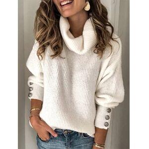 Wondershe Plus Size Long Sleeve Plain Casual Sweater - White, S