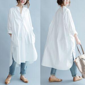 Paloveu Women's Literary Slit Long-Sleeve Shirt Dress