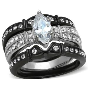 Marimorjewelry 2.5 Ct Marquise Cut Zirconia Black Stainless Steel Wedding Ring Set Women's Size 5-10