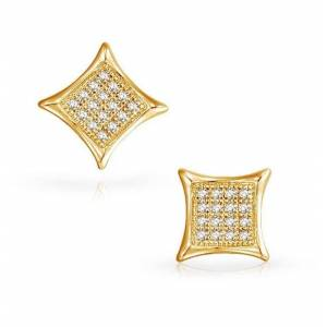 JewelMORE.com 1/10CT Diamond Micro-pave Set Earrings 14K White Gold or Yellow Gold - Yellow Gold