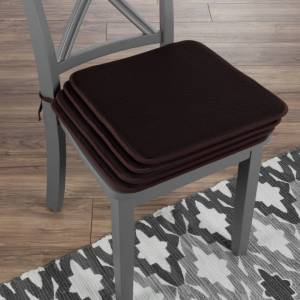 Lavish Home Set of 4 Foam Chair Cushions Pads with Ties Indoor Outdoor Easy Clean 16 x 16 Brown