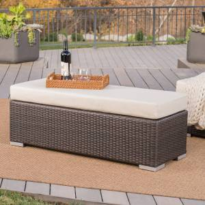 GDFStudio Santa Rosa Outdoor Wicker Bench with Water Resistant Cushion