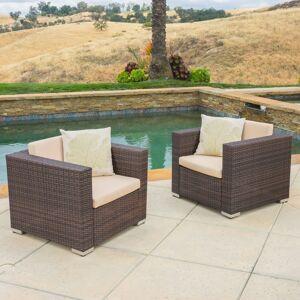 GDF Studio Westlake Outdoor Brown PE Wicker Sofa Club Chairs (Set of 2)