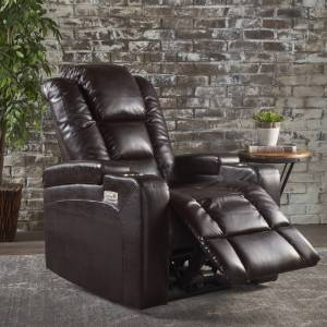 GDFStudio Everette Tufted Brown Leather Power Recliner with Arm Storage and USB Cord