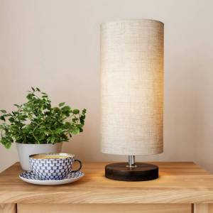 Lavish Home Cylinder Lamp with Wood Base-Modern Light with LED Bulb Included Adjustable Height for Living Room