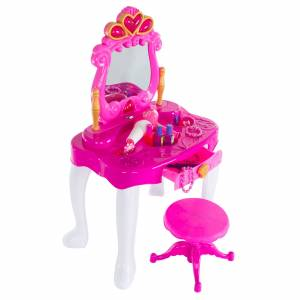 Hey! Play! Pretend Play Princess Vanity with Stool Childrens Make Up Table Mirror with Music and Lights