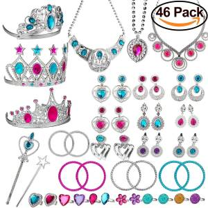 imomoi Princess Pretend Jewelry Toy,Girl??s Jewelry Dress Up Play Set,Included Crowns, Necklaces,Wands, Rings,Earrings and?Bracelets,46 Pack