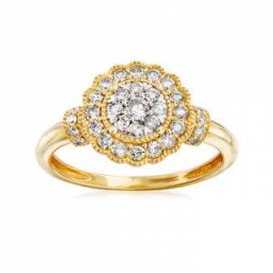 Ross-Simons .50 ct. t.w. Diamond Cluster Ring in 14kt Yellow Gold
