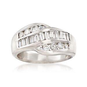 Ross-Simons C. 1980 Vintage 1.10ct t.w. Diamond Crossover Ring in 14kt White Gold