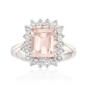 Ross-Simons 3.70 Carat Morganite and .63 ct. t.w. Diamond Ring in 14kt White Gold