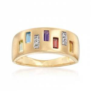 Ross-Simons .50 ct. t.w. Multi-Gem Ring with Diamond Accents in 14kt Yellow Gold