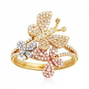 Ross-Simons .50 ct. t.w. Diamond Butterfly Ring in 14kt Tri-Colored Gold