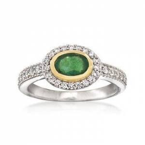 Ross-Simons .70ct Emerald, .50ct t.w. White Zircon Ring in Silver, Gold