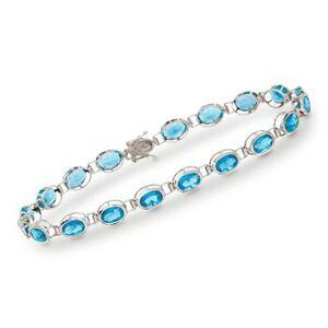 Ross-Simons 10.50 ct. t.w. Swiss Blue Topaz Line Bracelet in 14kt White Gold