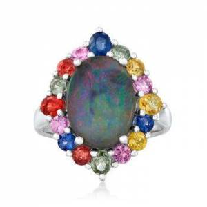 Ross-Simons Blue Opal, 1.50ct t.w. Multicolored Sapphire Ring in Silver