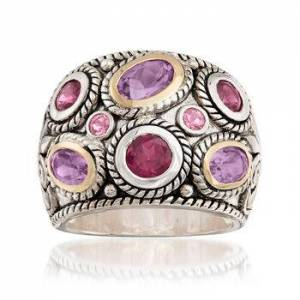Ross-Simons 2.50ct t.w. Multi-Gem Bali-Style Dome Ring in 14kt Yellow Gold, Silver