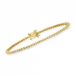 Ross-Simons 1.00 ct. t.w. Diamond Tennis Bracelet in 18kt Gold Over Sterling