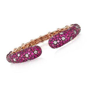 Ross-Simons 15.00ct t.w. Ruby, 1.55ct t.w. Diamond Cuff Bracelet in 18kt Rose Gold