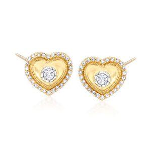 Ross-Simons .32 ct. t.w. Diamond Heart Earrings in 14kt Yellow Gold