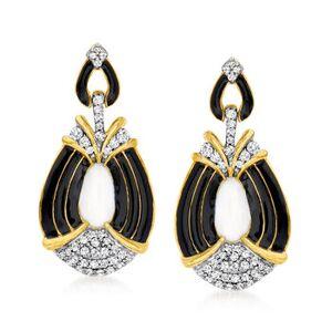 Ross-Simons .32ct t.w. Diamond Drop Earrings, Black, White Enamel Over Sterling