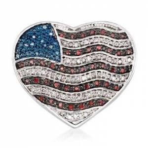 Ross-Simons .32ct t.w. Red, White, Blue Diamond American Flag Heart Pin in Silver